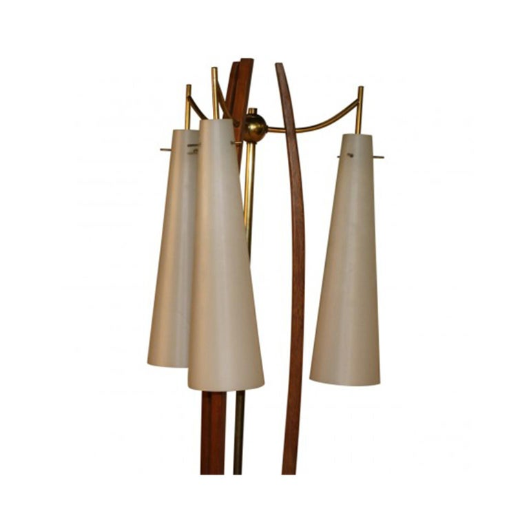 Italian Midcentury Vintage Walnut Brass Floor Lamp Side Table For Sale