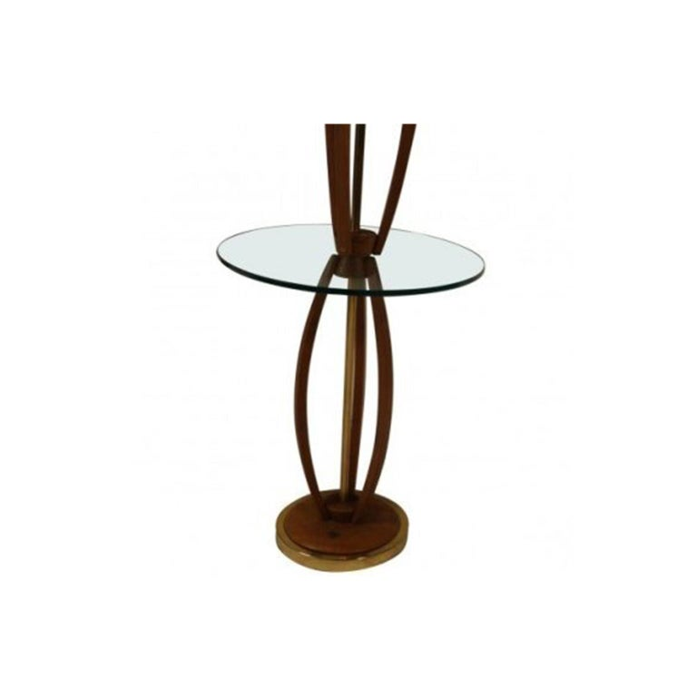 Midcentury Vintage Walnut Brass Floor Lamp Side Table In Good Condition For Sale In Baltimore, MD