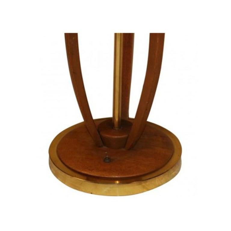 Mid-20th Century Midcentury Vintage Walnut Brass Floor Lamp Side Table For Sale