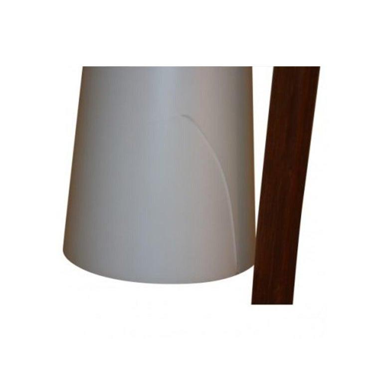 Midcentury Vintage Walnut Brass Floor Lamp Side Table For Sale 1
