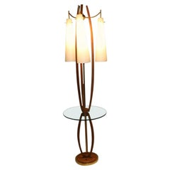 Midcentury Vintage Walnut Brass Floor Lamp Side Table