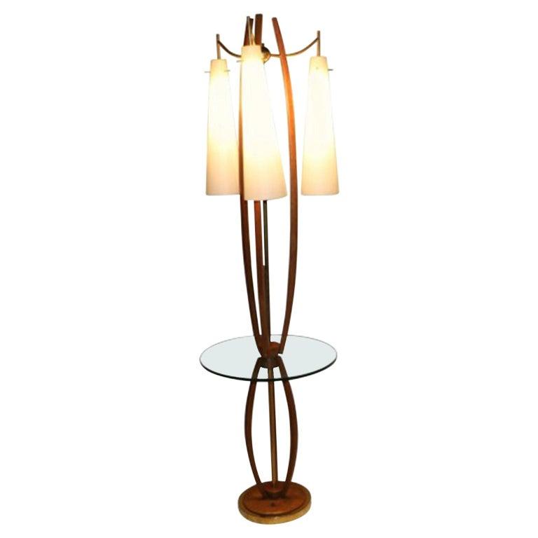 Midcentury Vintage Walnut Brass Floor Lamp Side Table For Sale