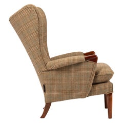 Midcentury Vintage Wingback Chairs Reupholstered in Yorkshire Tweed, circa 1960s