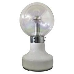 Mid-Century Vistosi Iridescent Glass Globe Table Lamp 70s Italy