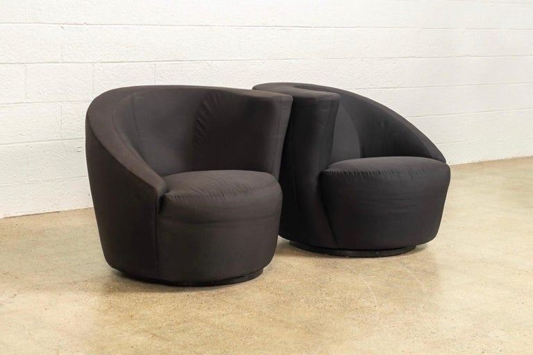 Mid-Century Modern Midcentury Vladimir Kagan for Directional Black Nautilus Lounge Chairs, a Pair For Sale