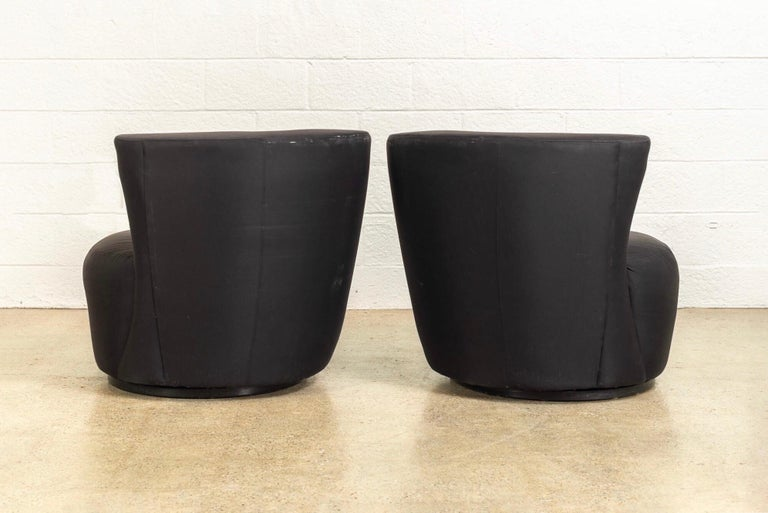 American Midcentury Vladimir Kagan for Directional Black Nautilus Lounge Chairs, a Pair For Sale