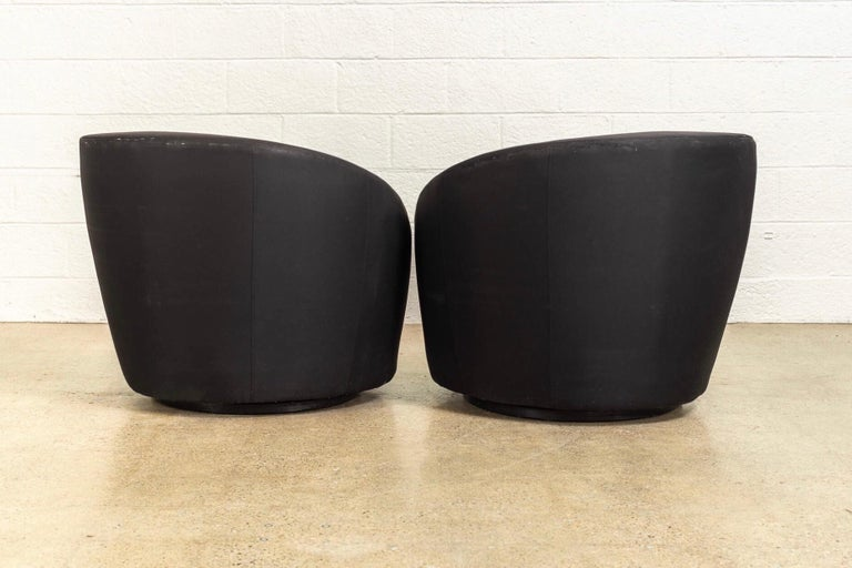 Midcentury Vladimir Kagan for Directional Black Nautilus Lounge Chairs, a Pair In Good Condition For Sale In Detroit, MI