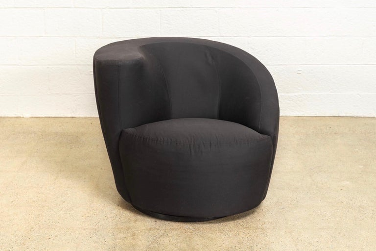Cotton Midcentury Vladimir Kagan for Directional Black Nautilus Lounge Chairs, a Pair For Sale