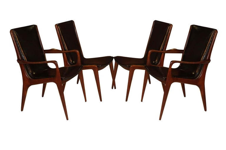 Midcentury Vladimir Kagan Sculpted Sling Dining Chairs Model VK 101 and VK 101A For Sale 5
