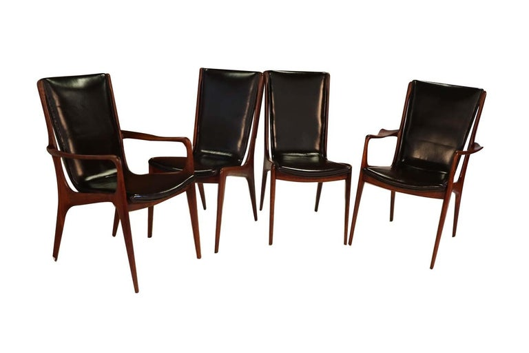 Mid-Century Modern Midcentury Vladimir Kagan Sculpted Sling Dining Chairs Model VK 101 and VK 101A For Sale