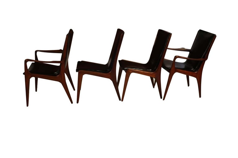 American Midcentury Vladimir Kagan Sculpted Sling Dining Chairs Model VK 101 and VK 101A For Sale