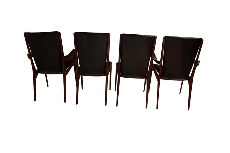 Midcentury Vladimir Kagan Sculpted Sling Dining Chairs Model VK 101 and VK 101A In Good Condition For Sale In Baltimore, MD