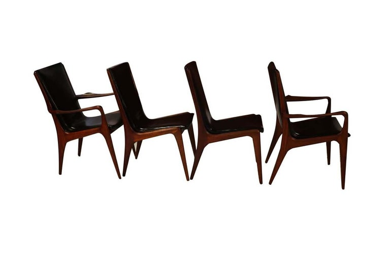 Mid-20th Century Midcentury Vladimir Kagan Sculpted Sling Dining Chairs Model VK 101 and VK 101A For Sale
