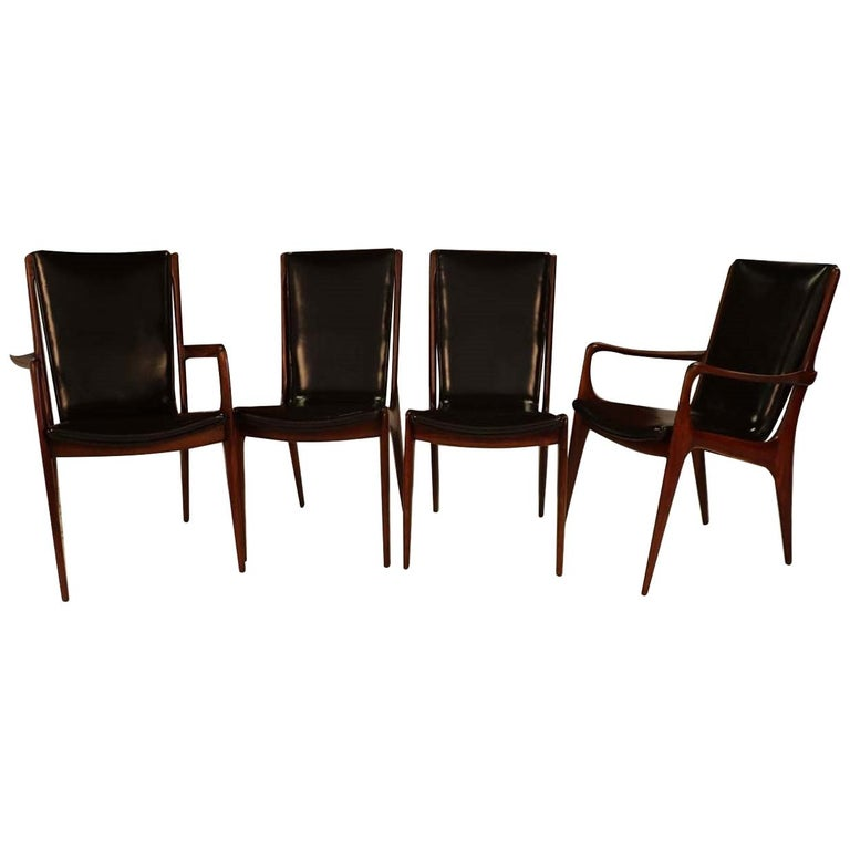 Midcentury Vladimir Kagan Sculpted Sling Dining Chairs Model VK 101 and VK 101A For Sale