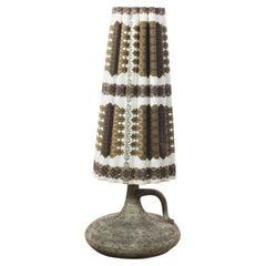 Mid-Century W. Germany Ceramic Vase Patterned Shade Floor Lamp