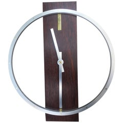 Midcentury Wall Clock in Hardwood, Aluminum and Brass