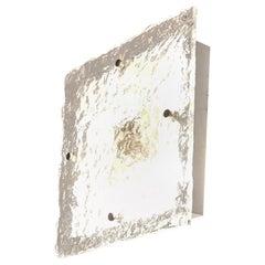 Wall Lamp Murano Ice Glass Metal Mid Century Italian Design 1970s