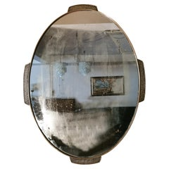 Mid Century Wall Mirror Brass Hammered Oval Italian Design, 1950s