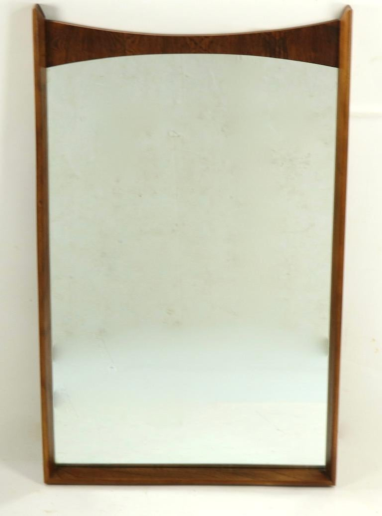 Rosewood Mid Century Wall Mirror For Sale