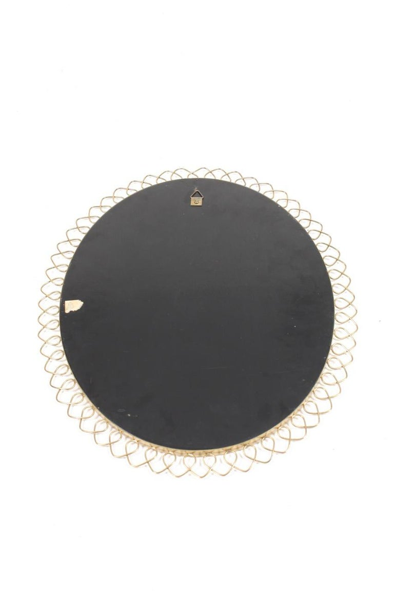 Midcentury Wall Mirror in Brass Made in Sweden, 1950s In Good Condition For Sale In Lejre, DK