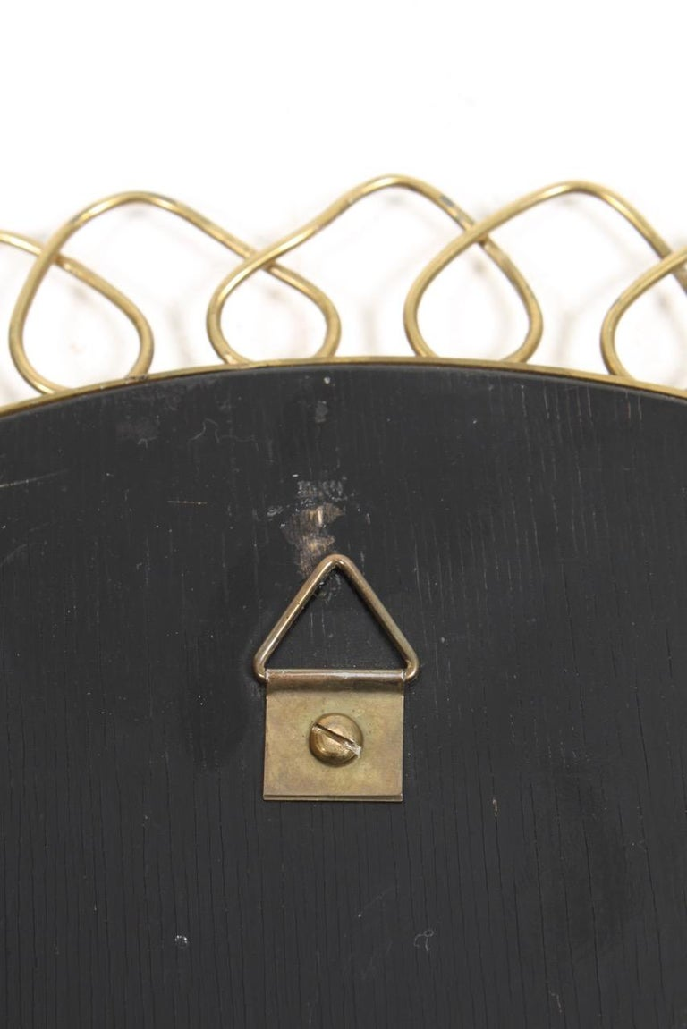 Mid-20th Century Midcentury Wall Mirror in Brass Made in Sweden, 1950s For Sale