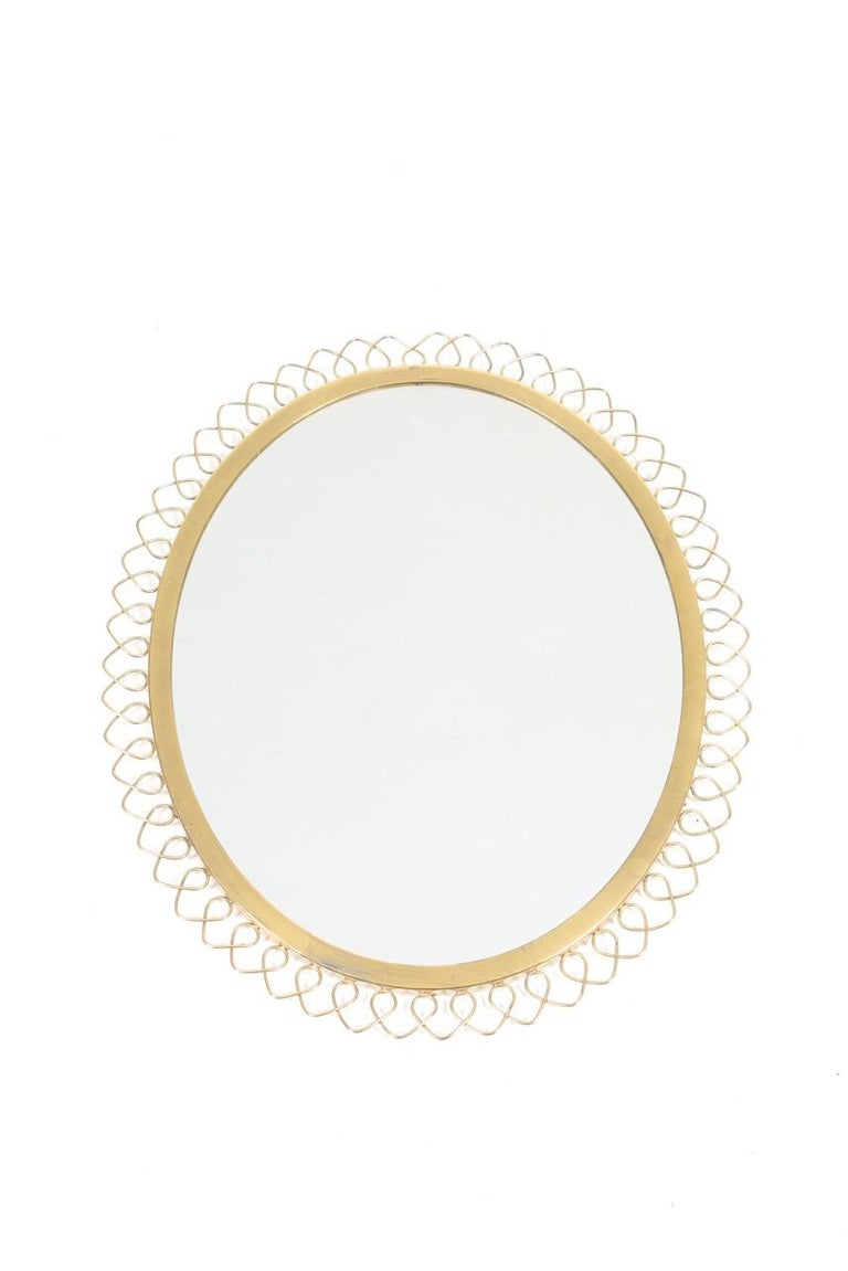 Midcentury Wall Mirror in Brass Made in Sweden, 1950s For Sale 1