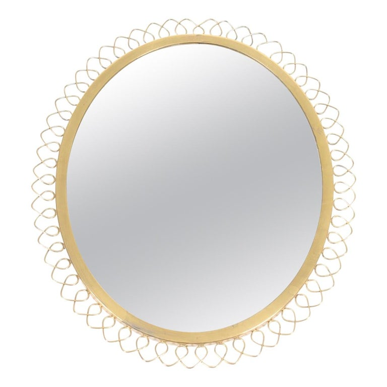 Midcentury Wall Mirror in Brass Made in Sweden, 1950s For Sale
