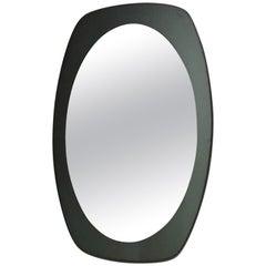 Midcentury Wall Mirror in Smoked Glass Italian Design, 1970s