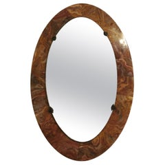 Midcentury Wall Mirror Round in Marble, Italian Design, 1950s