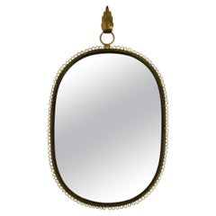 Midcentury Wall-Mounted Mirror with Brass Loop Frame by Josef Frank, Sweden