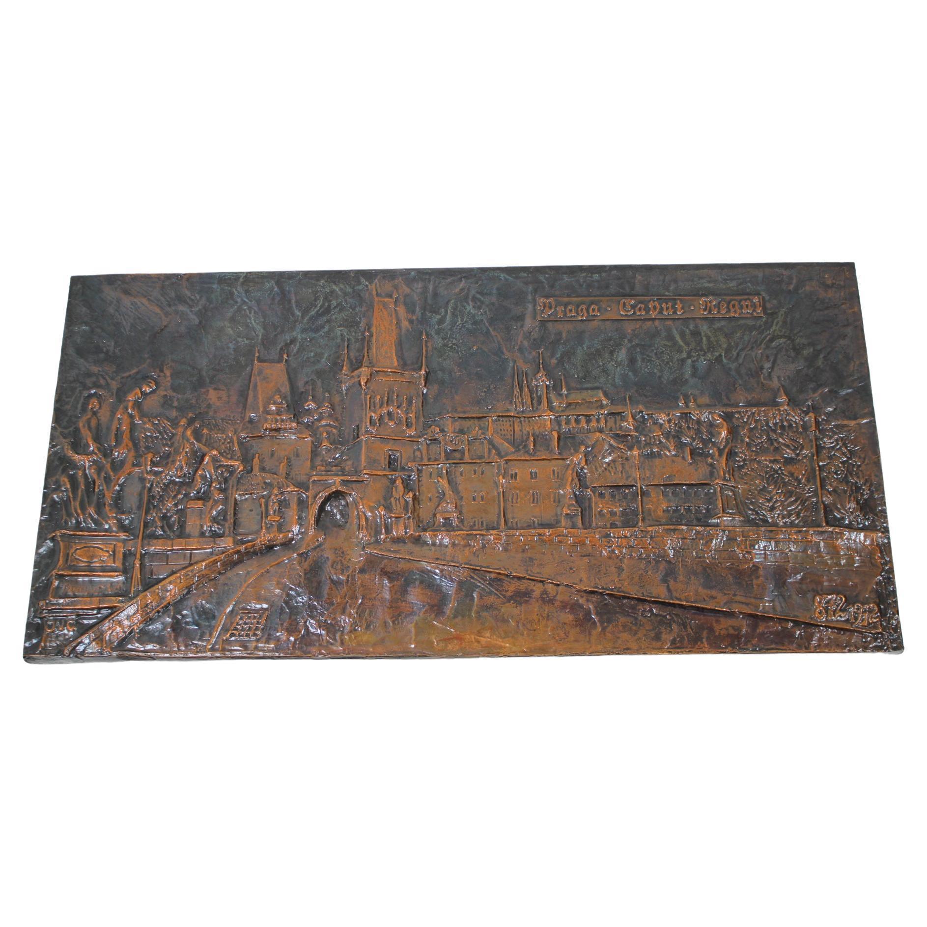 Mid-Century Wall Sculpture Copper Metal, 1972