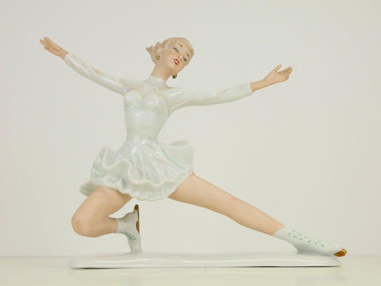 Midcentury Wallendorf Porcelain Figurine Depicting Figure Skater Sonja Henie For Sale 3