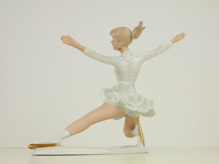 Midcentury Wallendorf Porcelain Figurine Depicting Figure Skater Sonja Henie For Sale 4