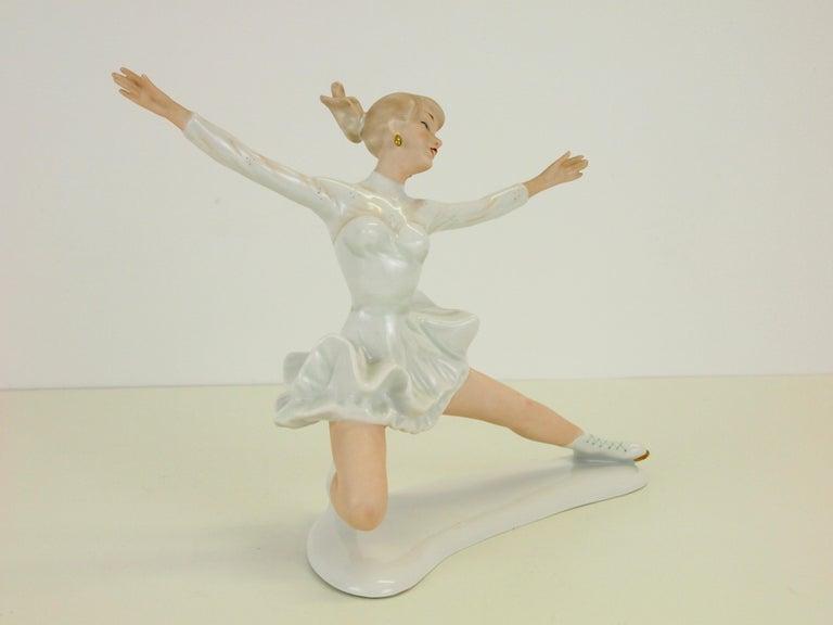 Romantic Midcentury Wallendorf Porcelain Figurine Depicting Figure Skater Sonja Henie For Sale