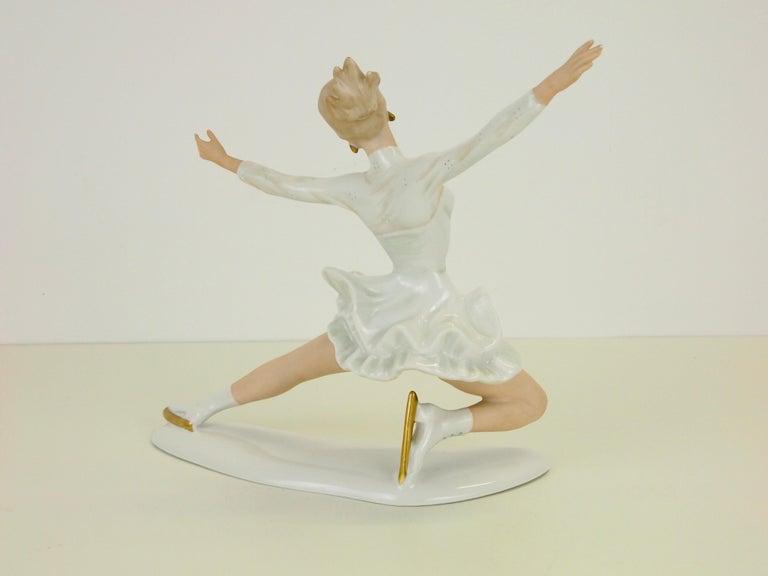 German Midcentury Wallendorf Porcelain Figurine Depicting Figure Skater Sonja Henie For Sale