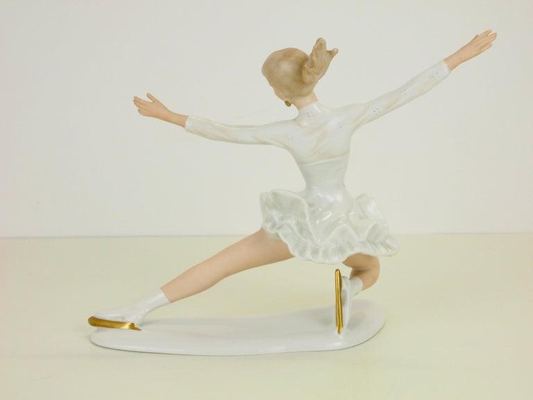 Hand-Painted Midcentury Wallendorf Porcelain Figurine Depicting Figure Skater Sonja Henie For Sale