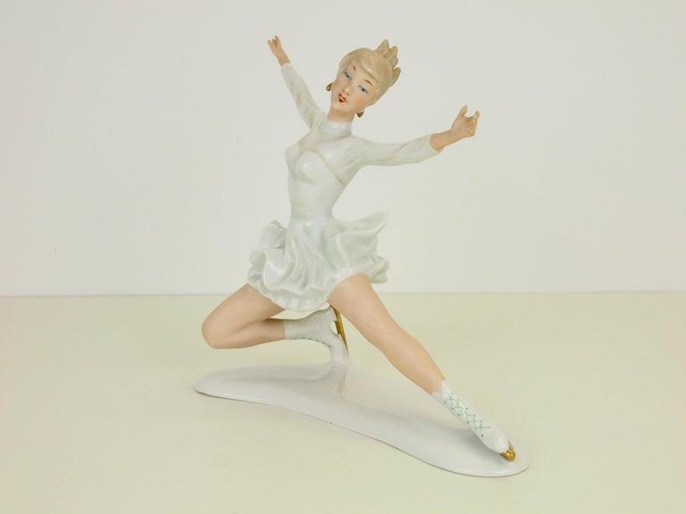 20th Century Midcentury Wallendorf Porcelain Figurine Depicting Figure Skater Sonja Henie For Sale