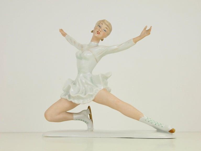 Midcentury Wallendorf Porcelain Figurine Depicting Figure Skater Sonja Henie For Sale 2