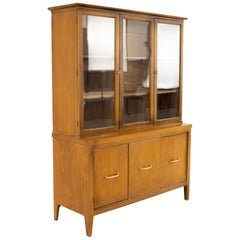 Midcentury Walnut and Brass Buffet and Hutch