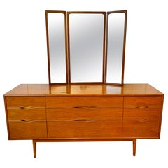 Midcentury Walnut and Brass Dresser Credenza With Folding Mirror