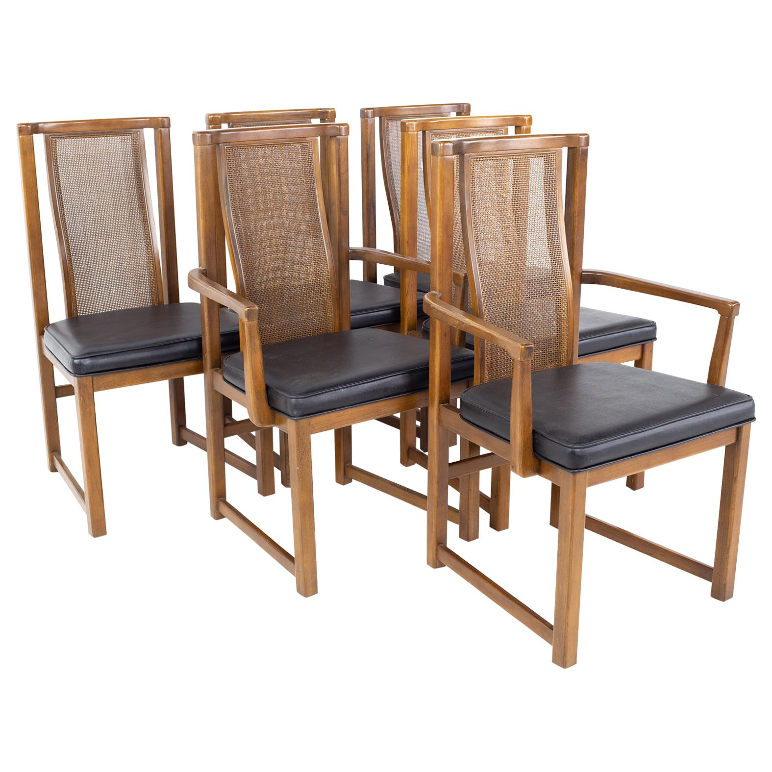 Mid Century Walnut and Cane Dining Chairs, Set of 6