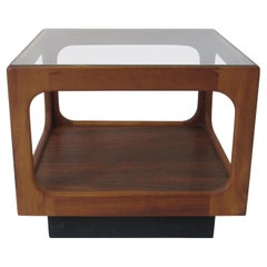 Mid Century Walnut and Glass Cube Side Table