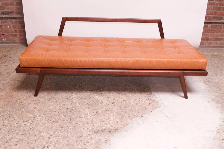 Midcentury Walnut and Leather Daybed / Settee by Mel Smilow 4