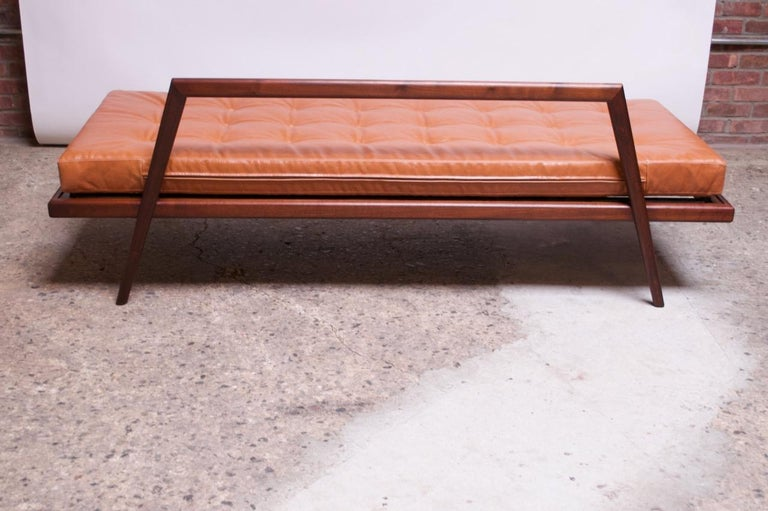 Midcentury Walnut and Leather Daybed / Settee by Mel Smilow 5