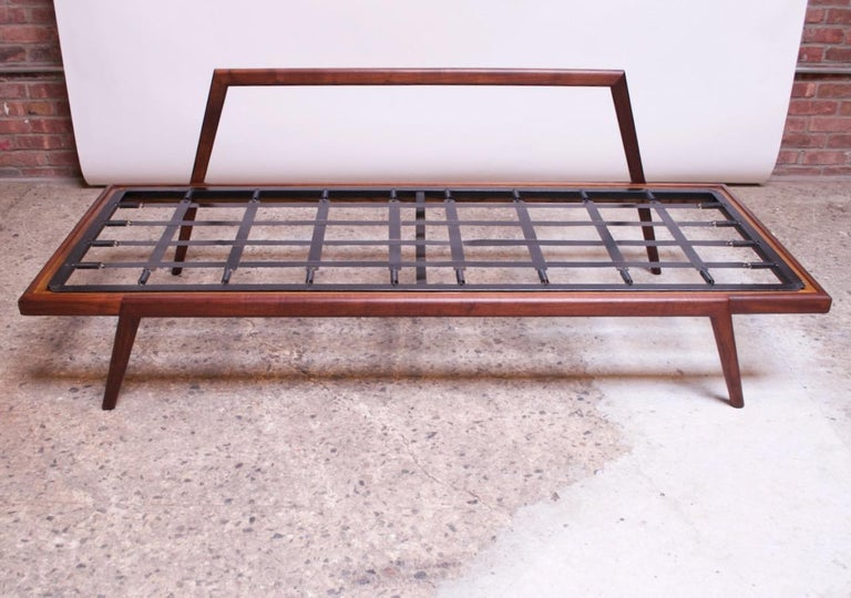 Midcentury Walnut and Leather Daybed / Settee by Mel Smilow 6