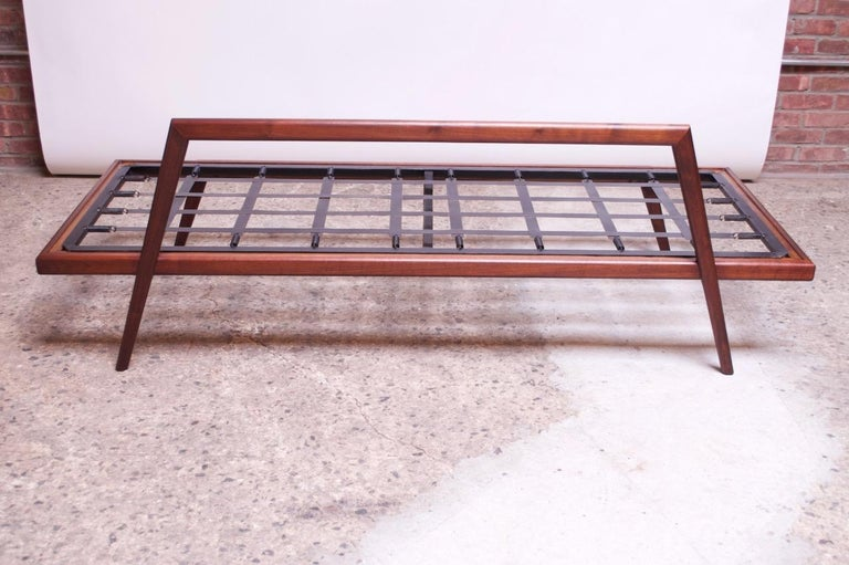 Midcentury Walnut and Leather Daybed / Settee by Mel Smilow 7