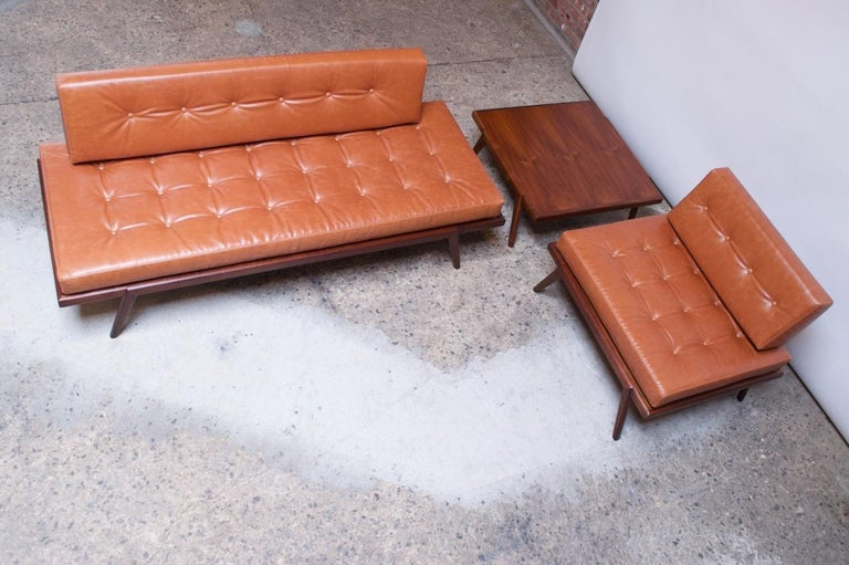 Midcentury Walnut and Leather Daybed / Settee by Mel Smilow 8