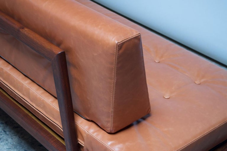 Midcentury Walnut and Leather Daybed / Settee by Mel Smilow 9