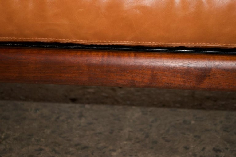 Midcentury Walnut and Leather Daybed / Settee by Mel Smilow 11