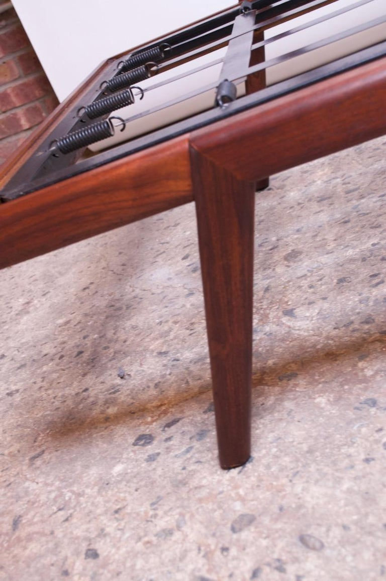Midcentury Walnut and Leather Daybed / Settee by Mel Smilow 13